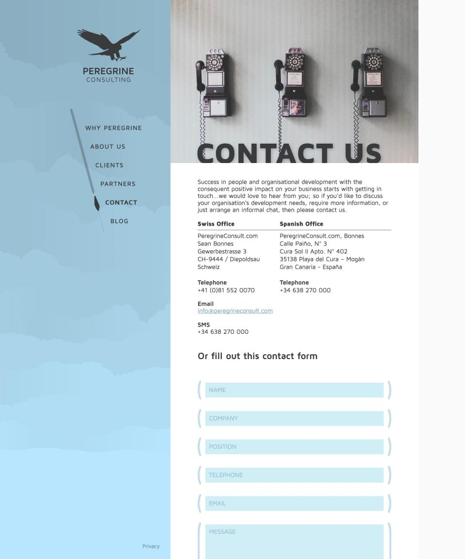 Peregrine contact page