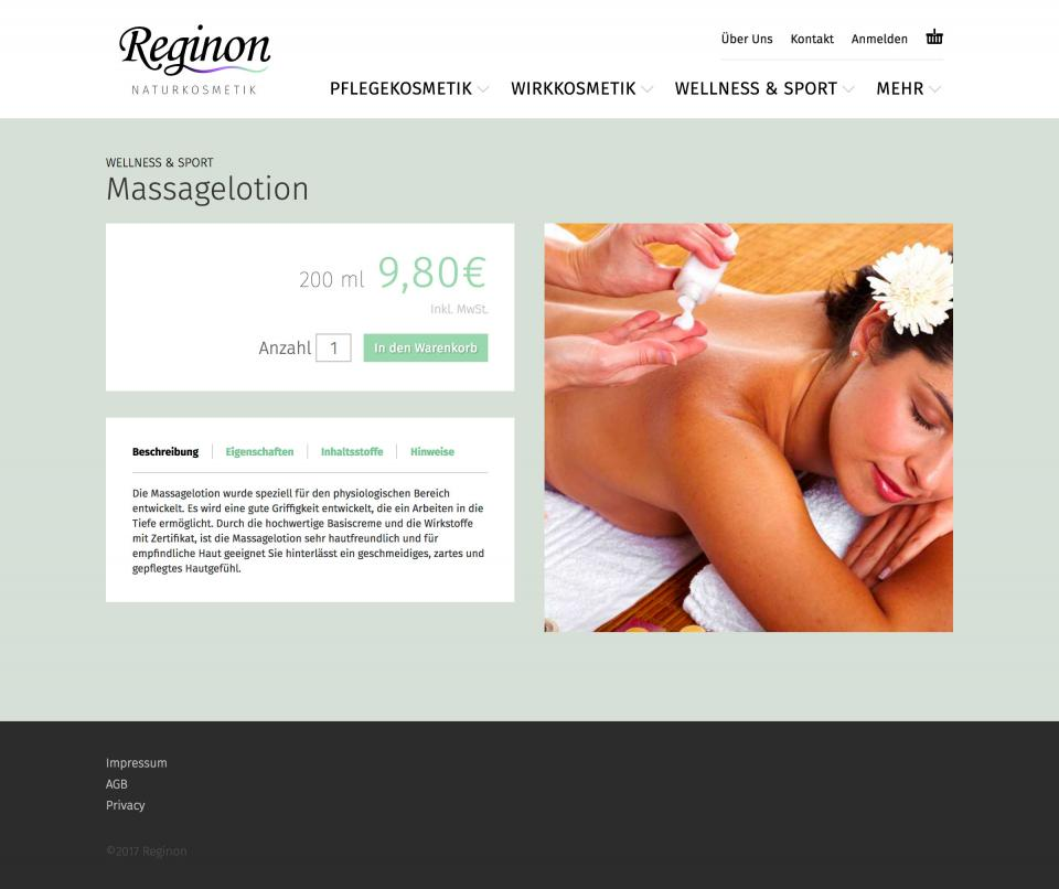 Reginon product detail page