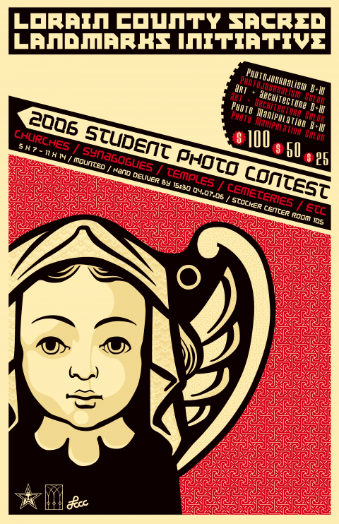 Landmarks Initiative Student Photo Contest poster design in Fairey style